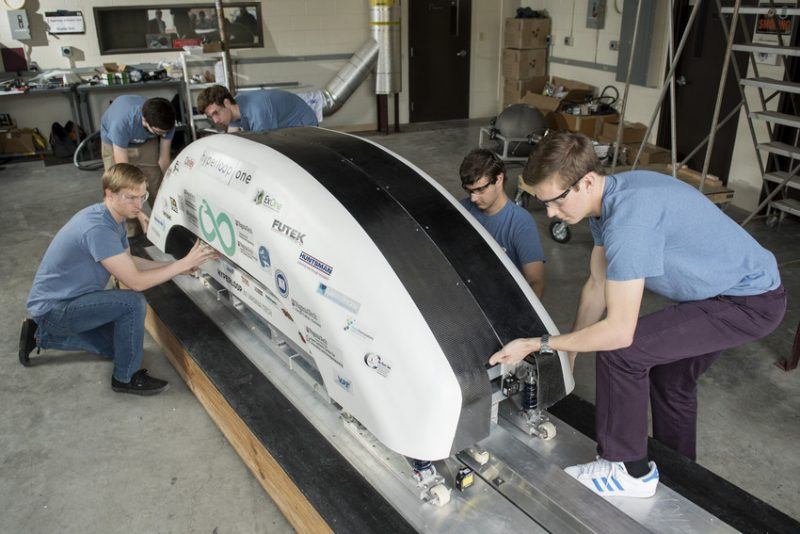 The hyperloop team works on their project.