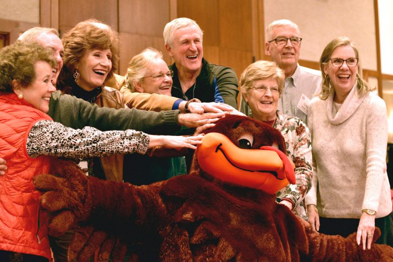 Alumni with the HokieBird