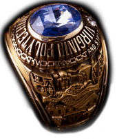 image of a class ring with blue stone