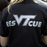 image of the back of a rescue squad volunteer showing the logo for the virginia tech rescue squad