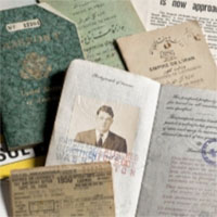 image of travel documents arrayed on a table