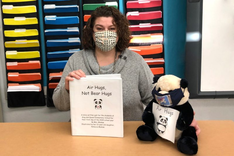 "A graduate of the Virginia Tech School of Education, Karen Mumaw has written ""Air Hugs, Not Bear Hugs,"" a storybook featuring a young panda bear learning to cope with COVID-19 restrictions in school."